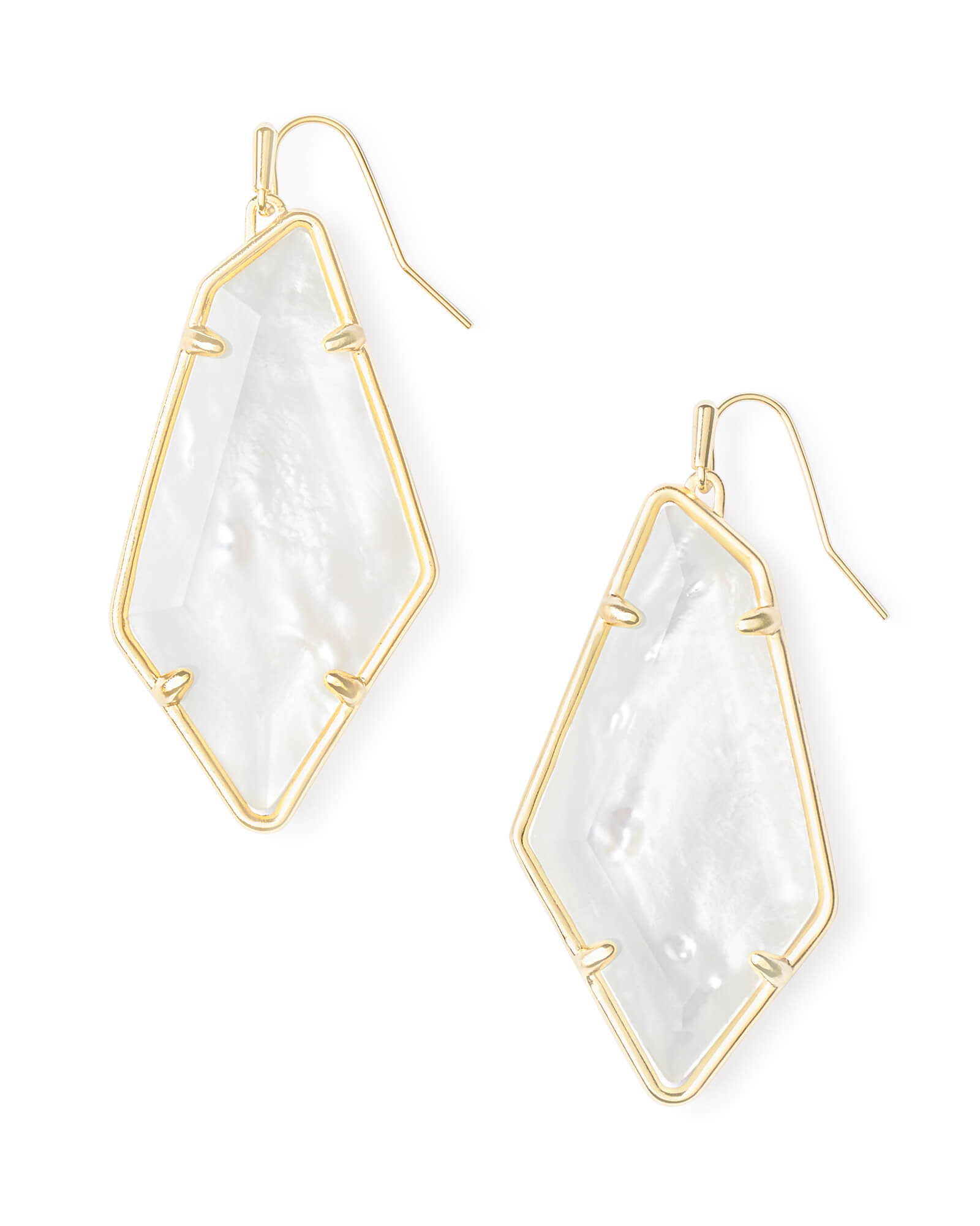 Emilia Gold Drop Earrings in Ivory Mother-of-Pearl