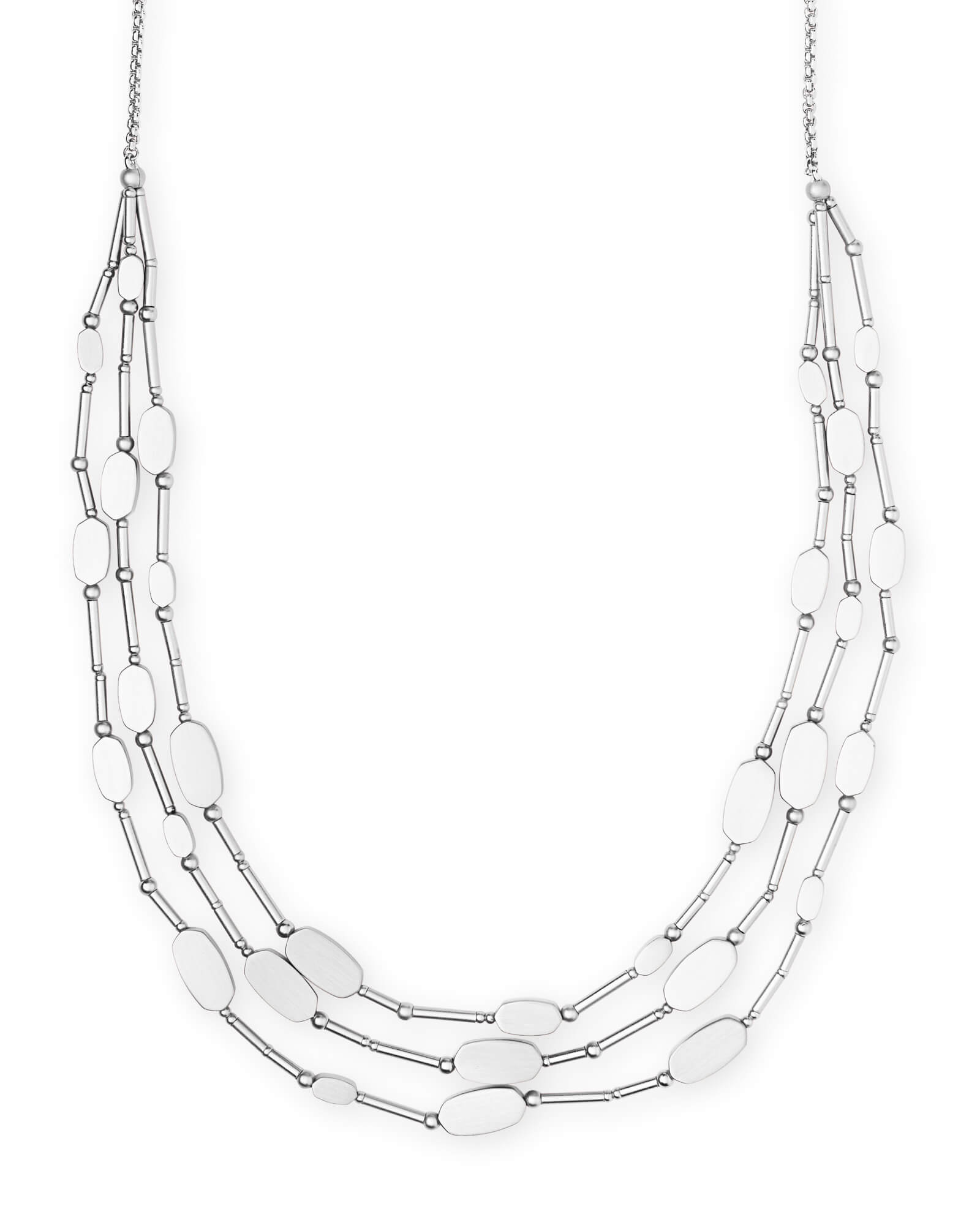 Channing Multi Strand Necklace in Bright Silver