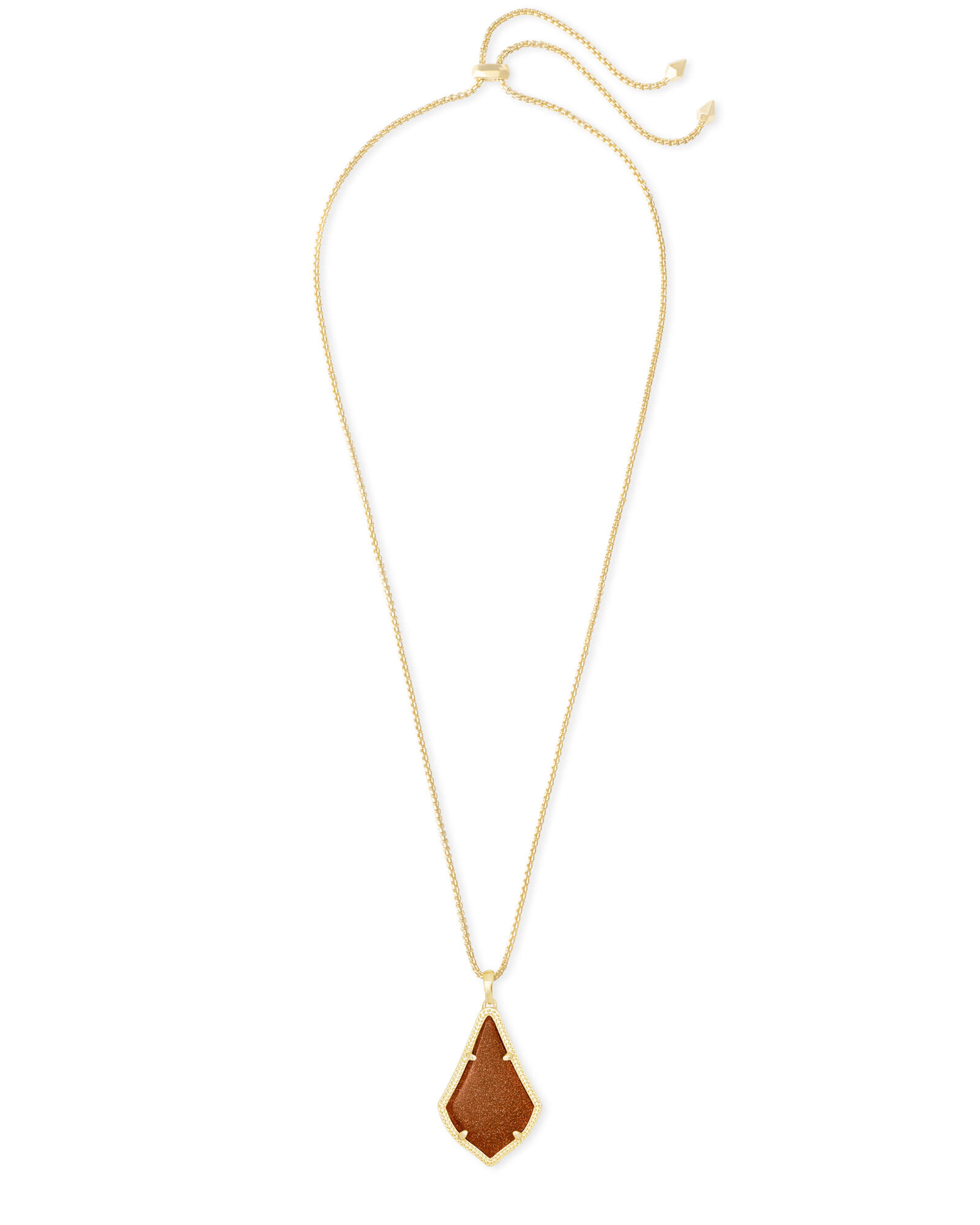 Alex Gold Pendant Necklace in Goldstone Glass