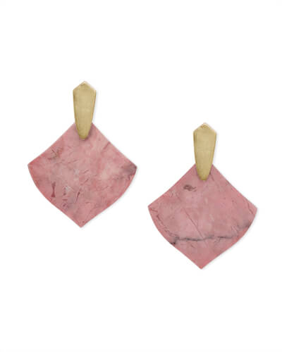 Astoria Gold Drop Earrings in Pink Rhodonite
