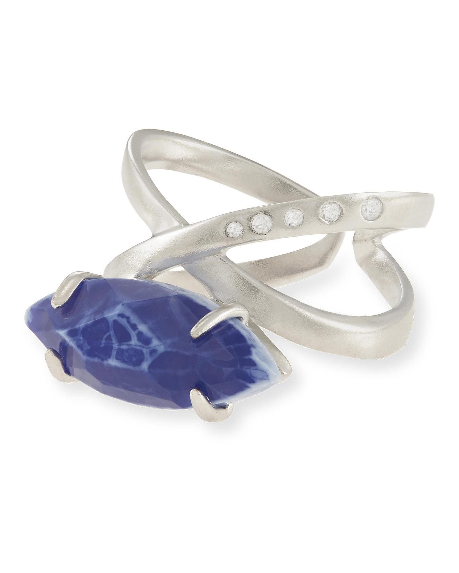 Rosemary Ring in Crackle Blue Agate