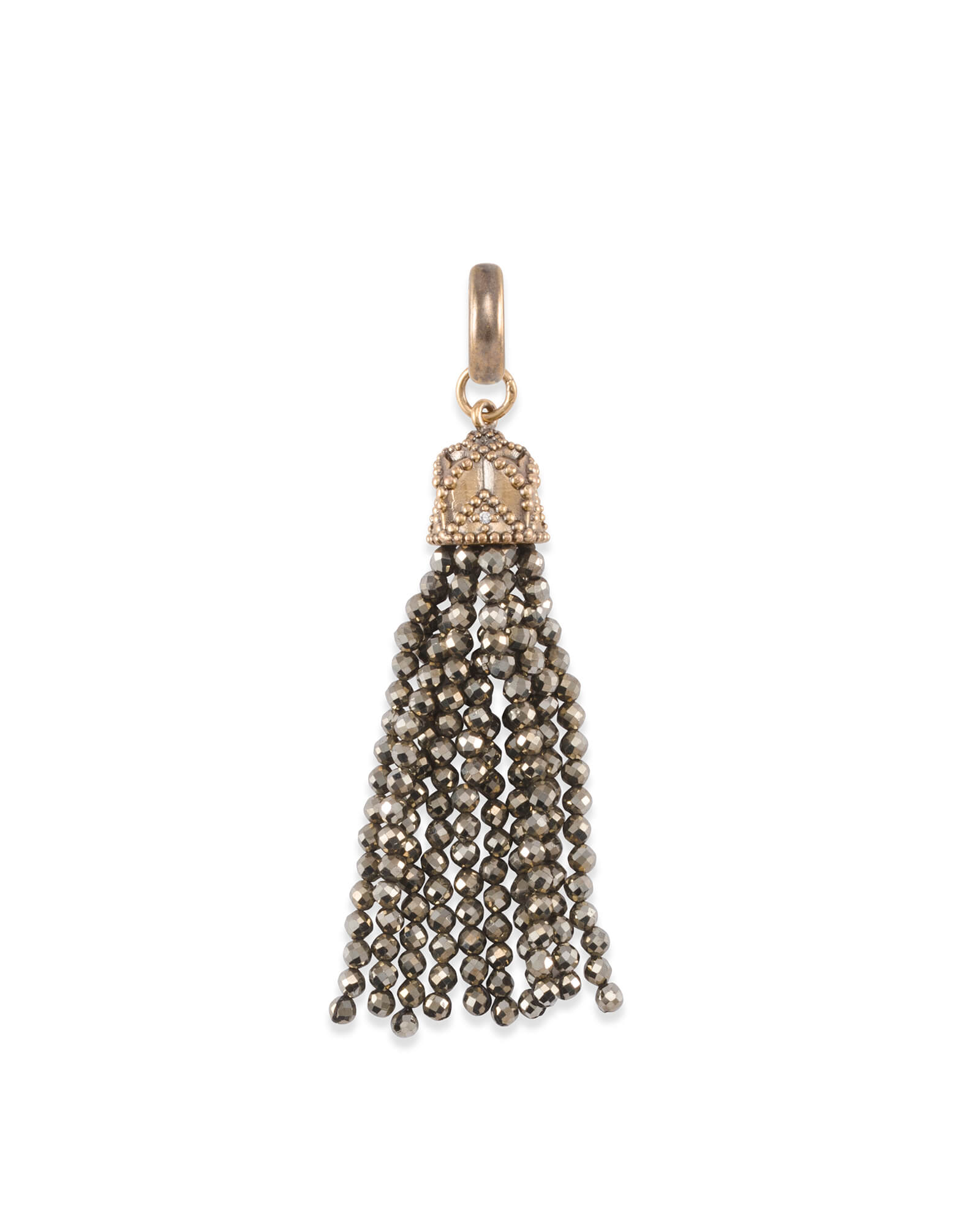 Beaded Vintage Gold Tassel Charm in Brown Pyrite