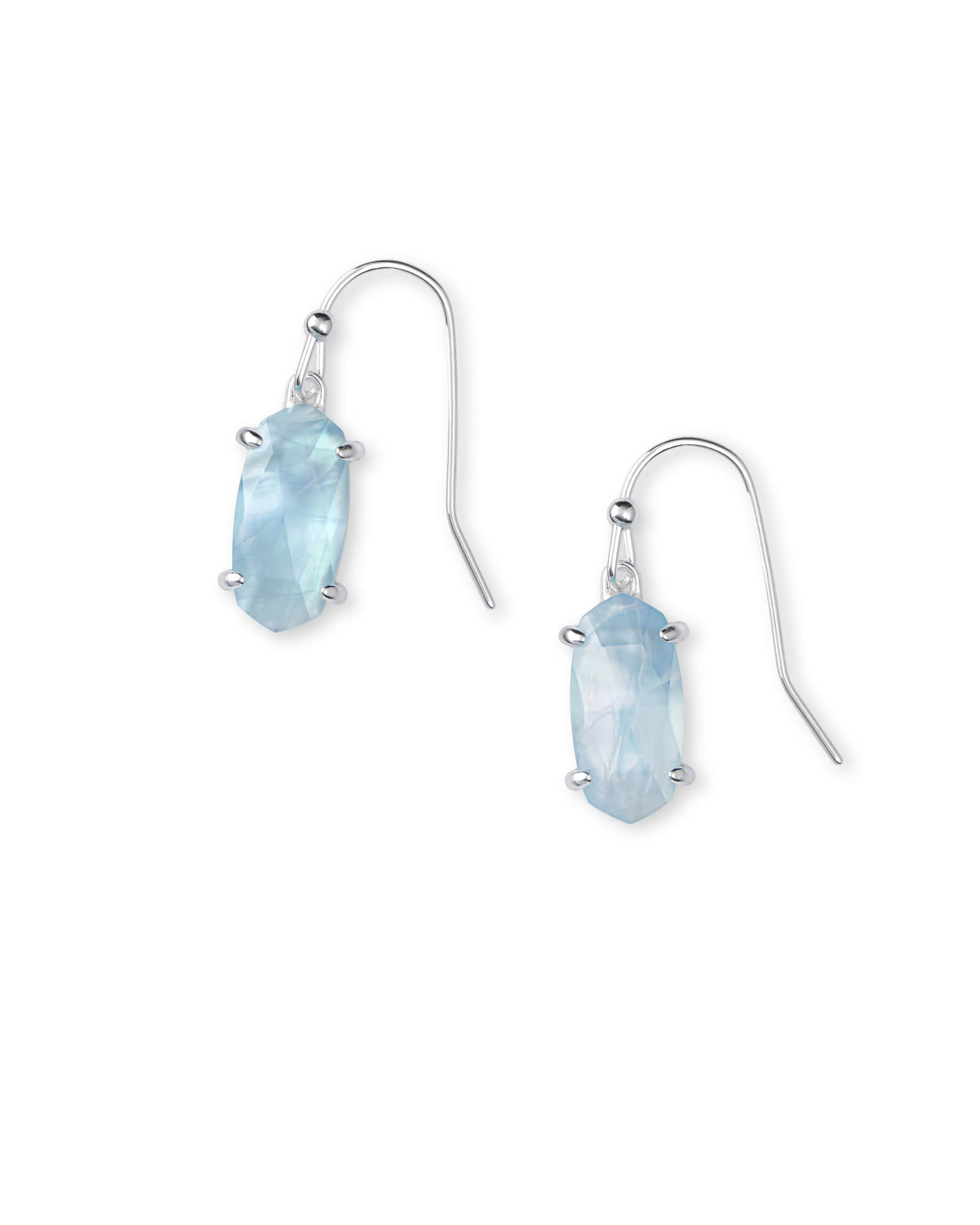 Lemmi Bright Silver Drop Earrings in Sky Blue Illusion