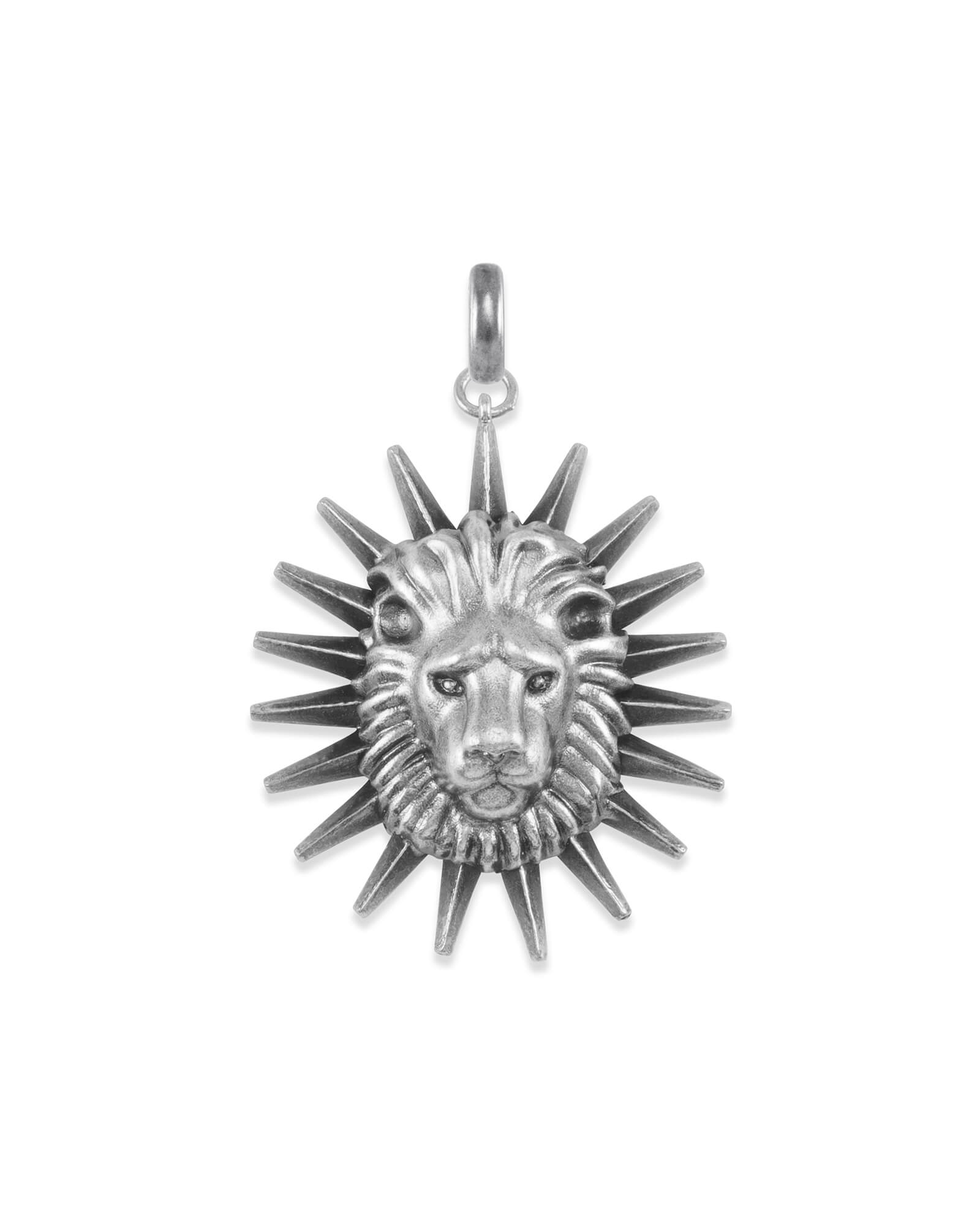 Large Lion Charm in Vintage Silver