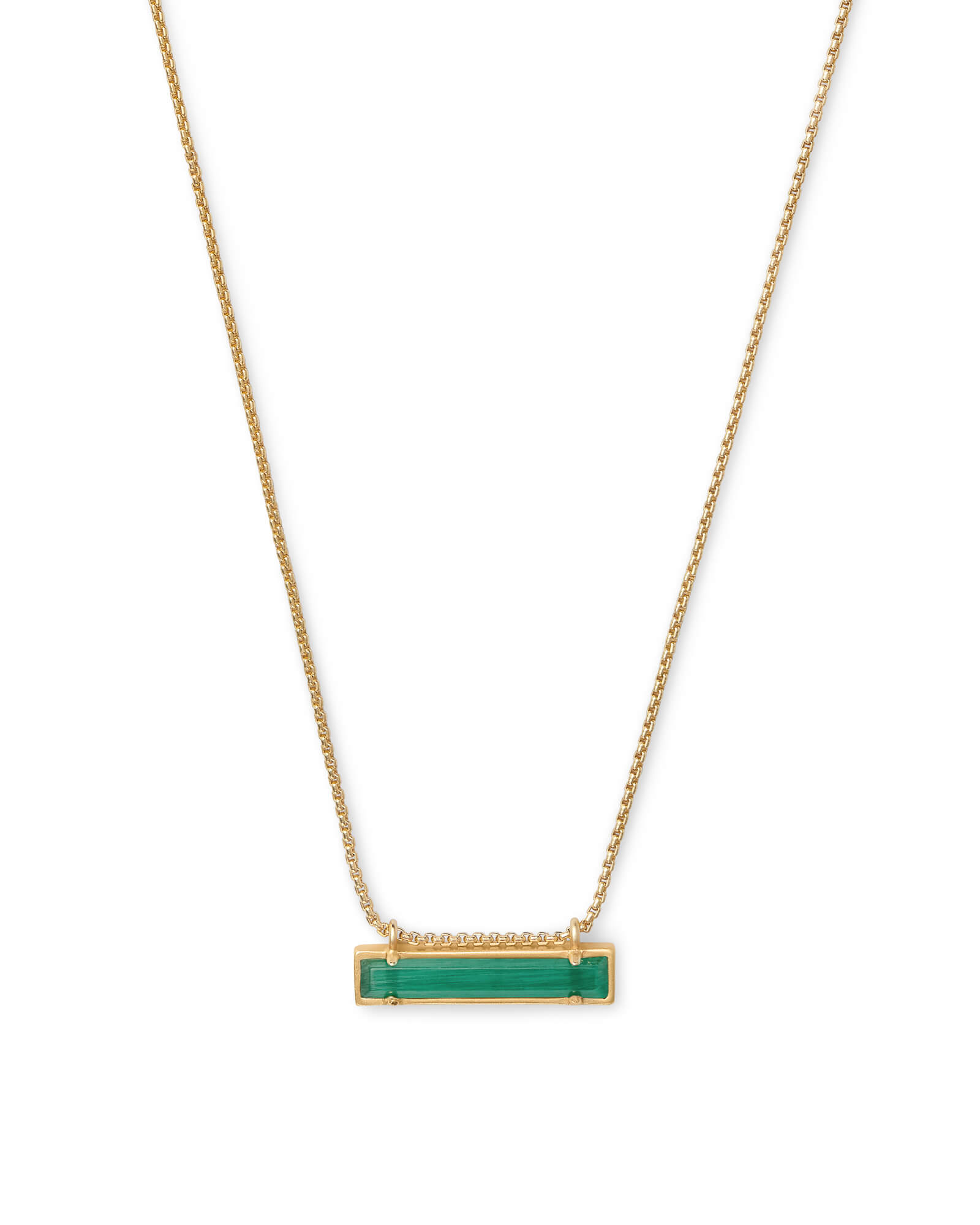 Leanor Gold Pendant Necklace in Emerald Cat's Eye