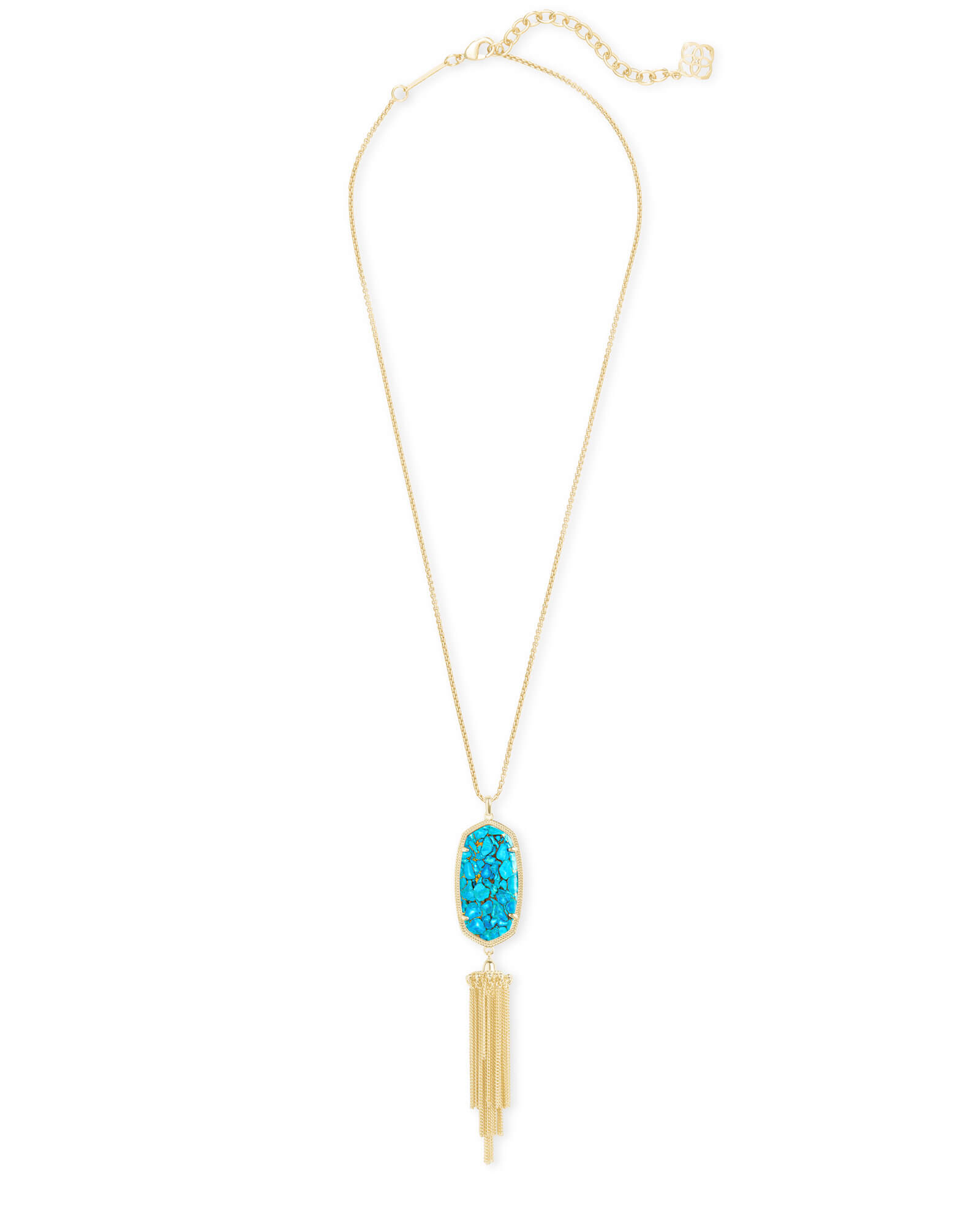 Rayne Long Pendant Necklace in Bronze Veined Turquoise Magnesite