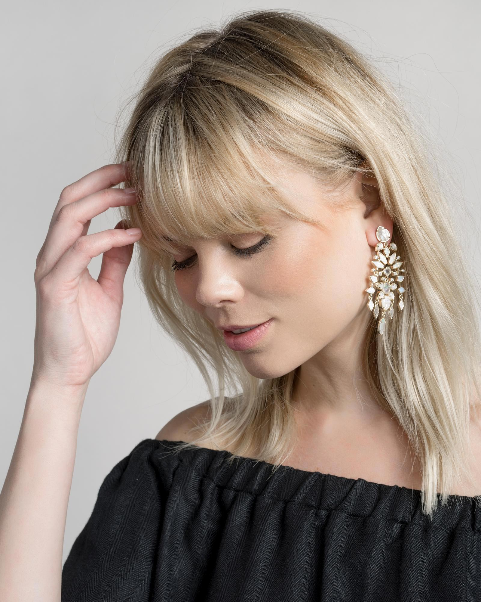 Aryssa Statement Earrings in Ivory Zellige