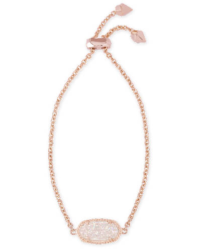 Elaina Rose Gold Adjustable Chain Bracelet in Iridescent Drusy from Kendra Scott Product Image