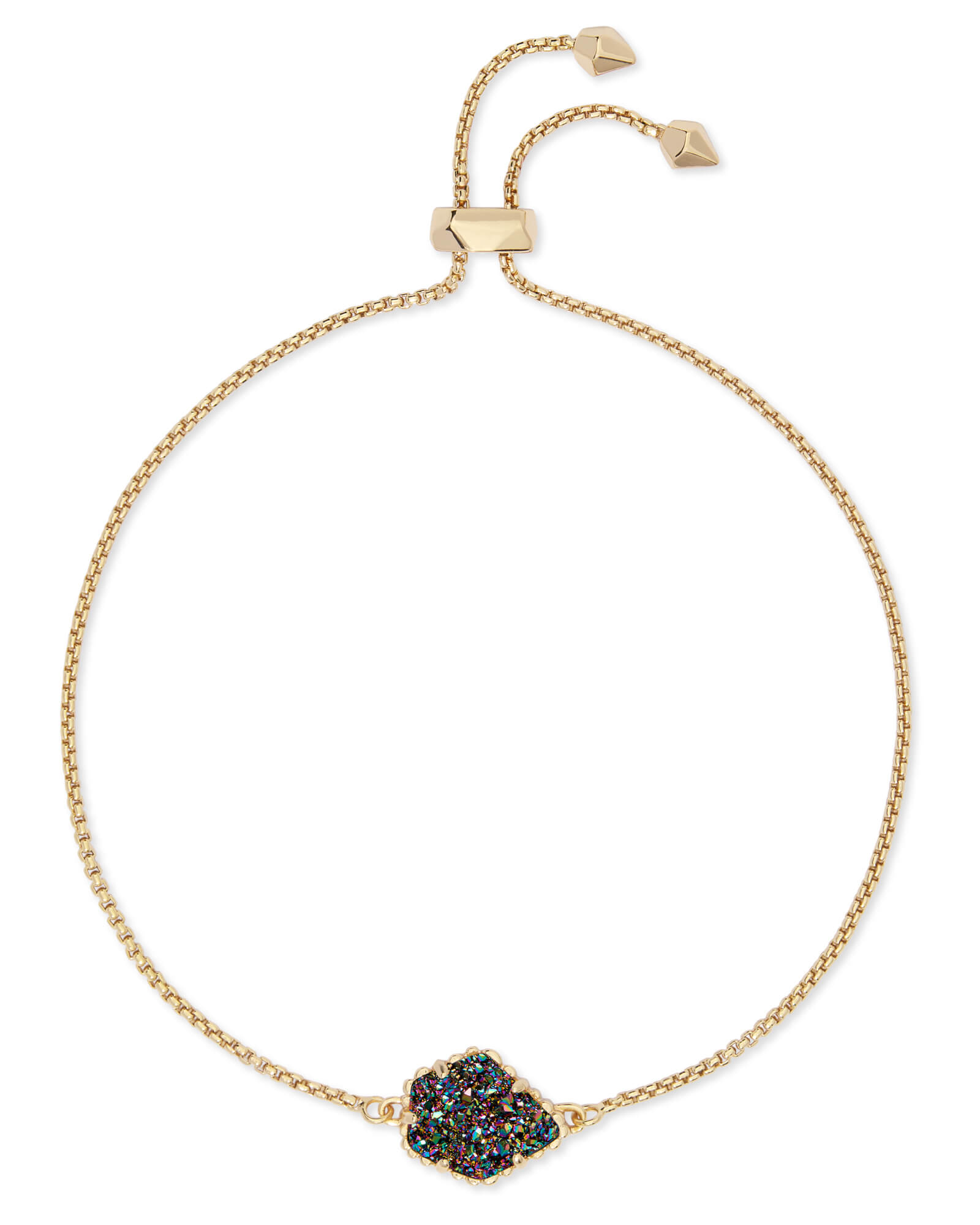 Theo Gold Adjustable Chain Bracelet in Multicolor Drusy