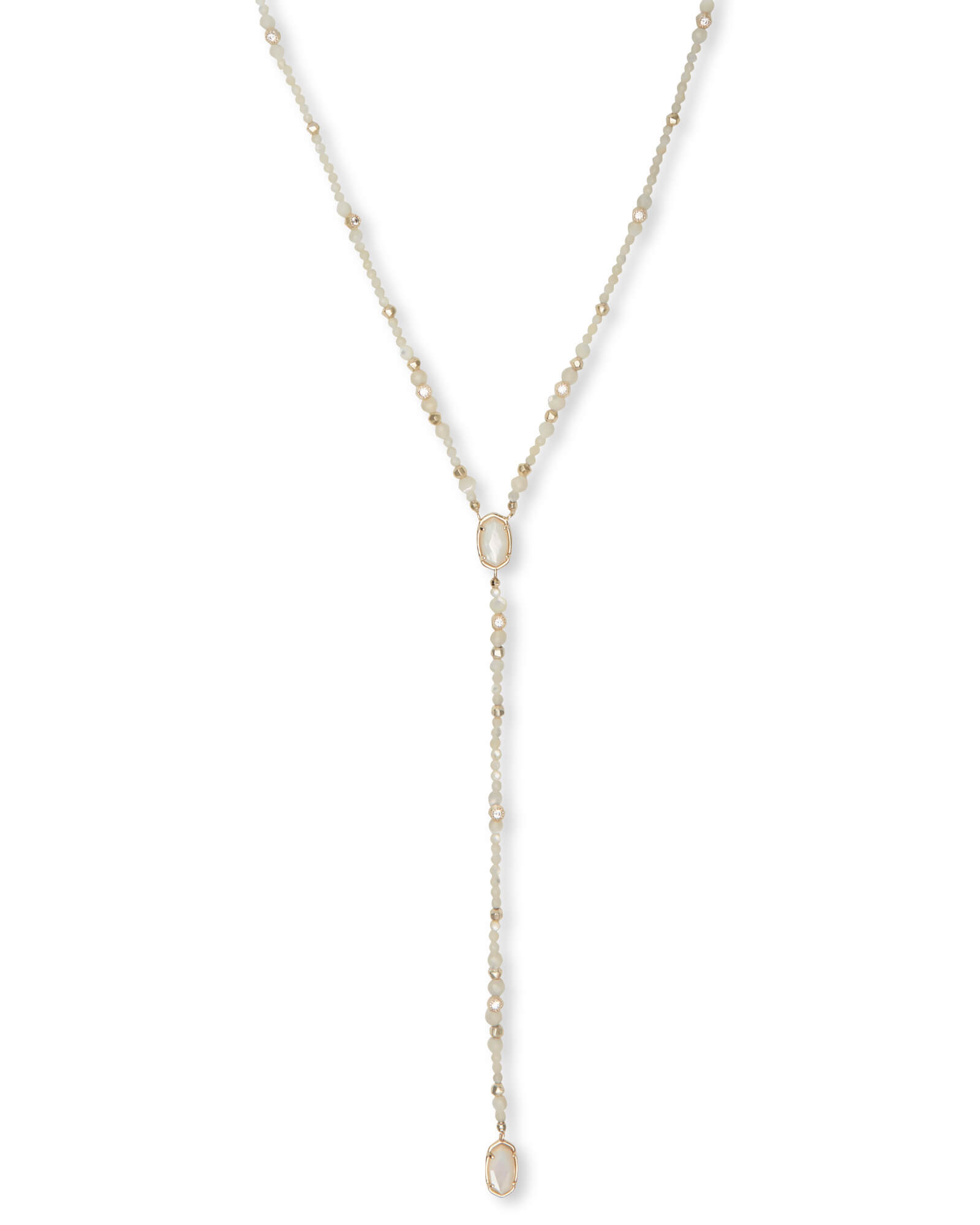 Bethany Gold Y Necklace in Ivory Pearl