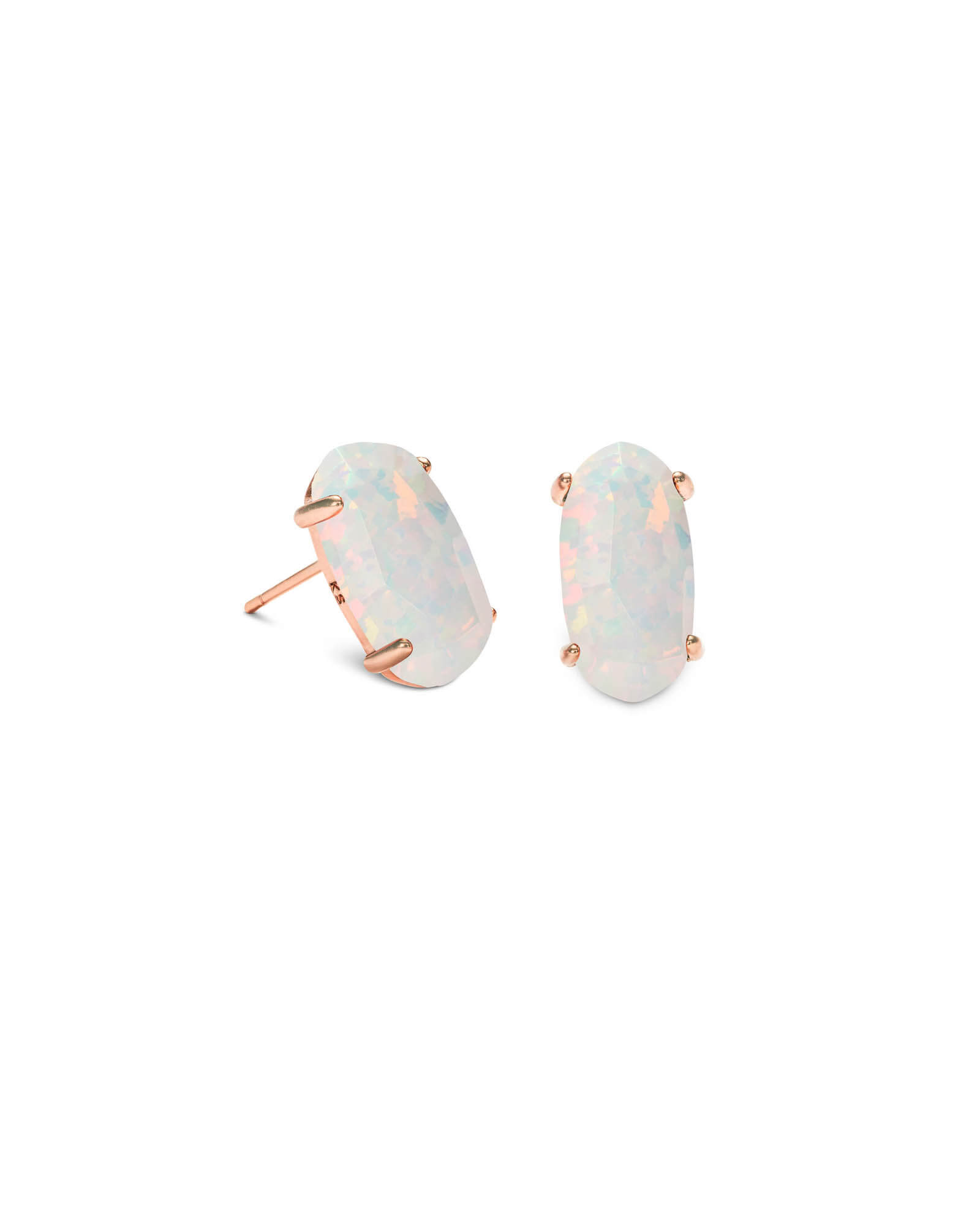 Betty Rose Gold Stud Earrings in White Kyocera Opal