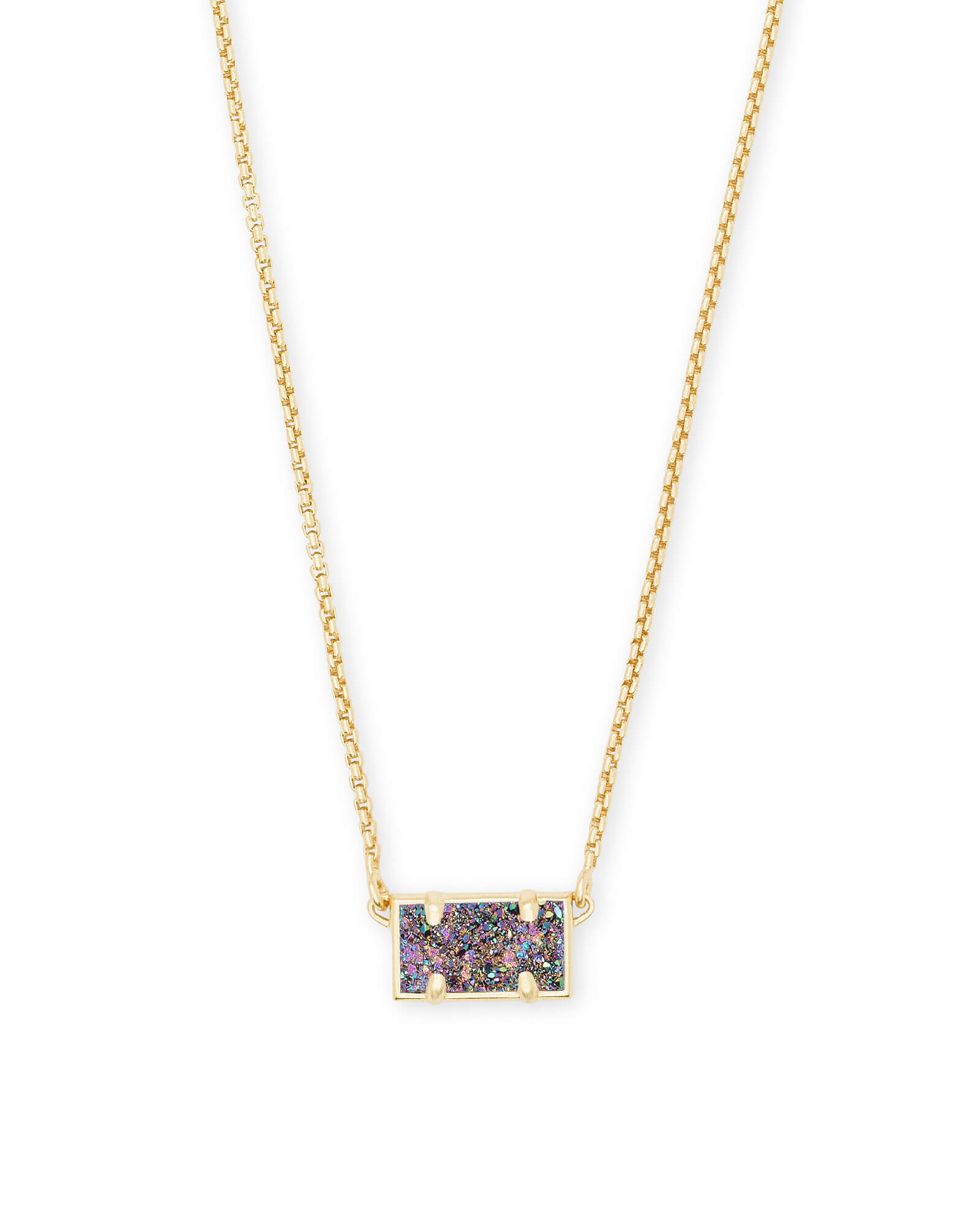 Pattie Gold Pendant Necklace In Multicolor Drusy