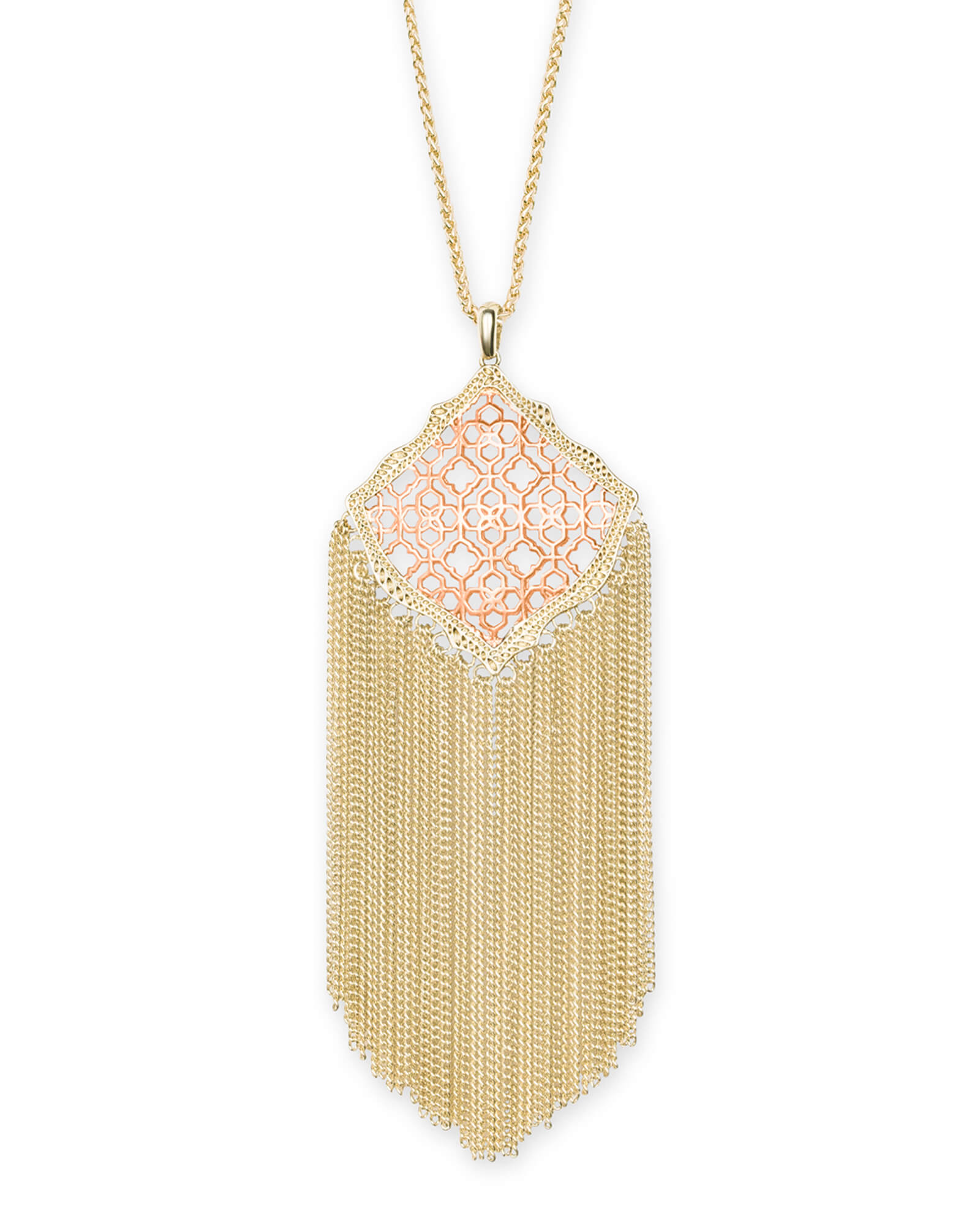 Kingston Gold Long Pendant Necklace in Rose Gold Filigree Mix