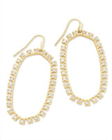 Danielle Open Frame Crystal Statement Earrings in Gold