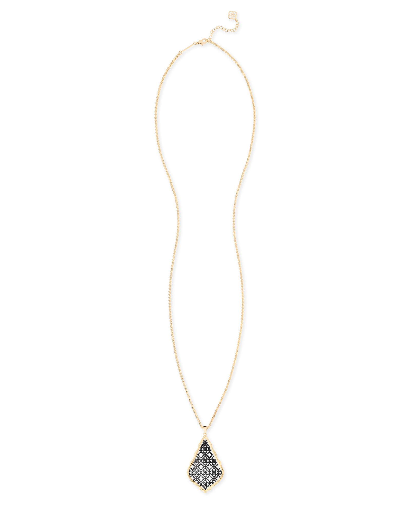 Aiden Gold Long Pendant Necklace in Gunmetal Filigree