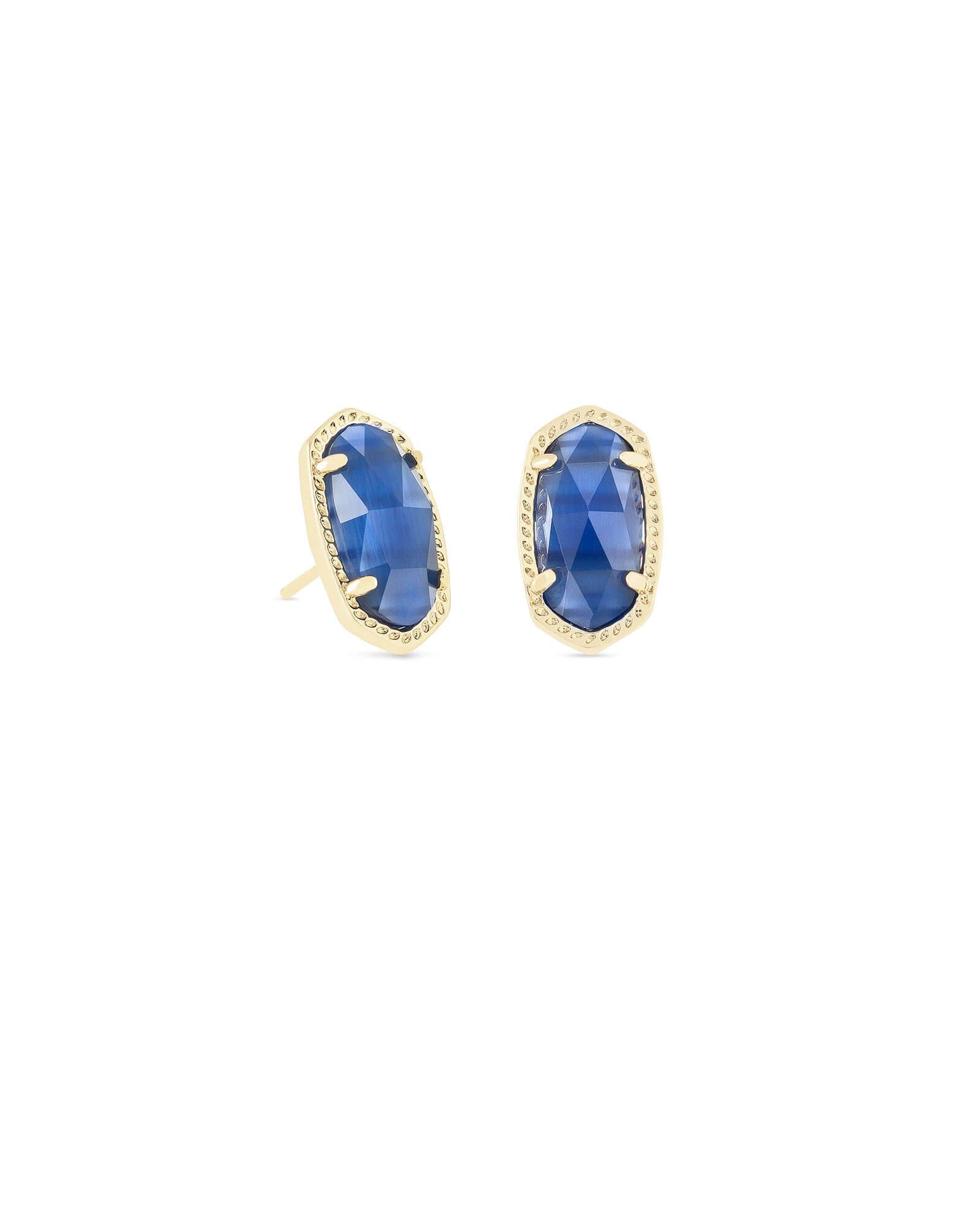 Ellie Gold Stud Earrings In Navy Cat S Eye