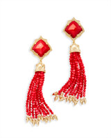 Misha Statement Earrings in Red Pearl