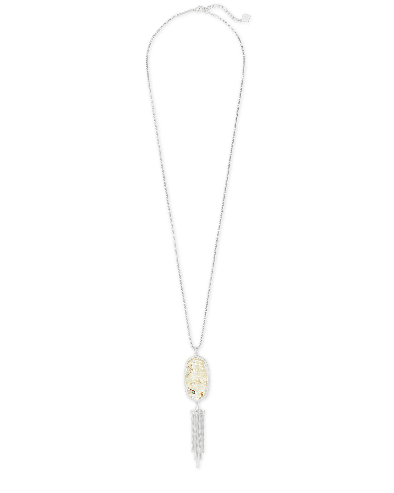 Rayne Bright Silver Large Long Pendant Necklace in White Abalone