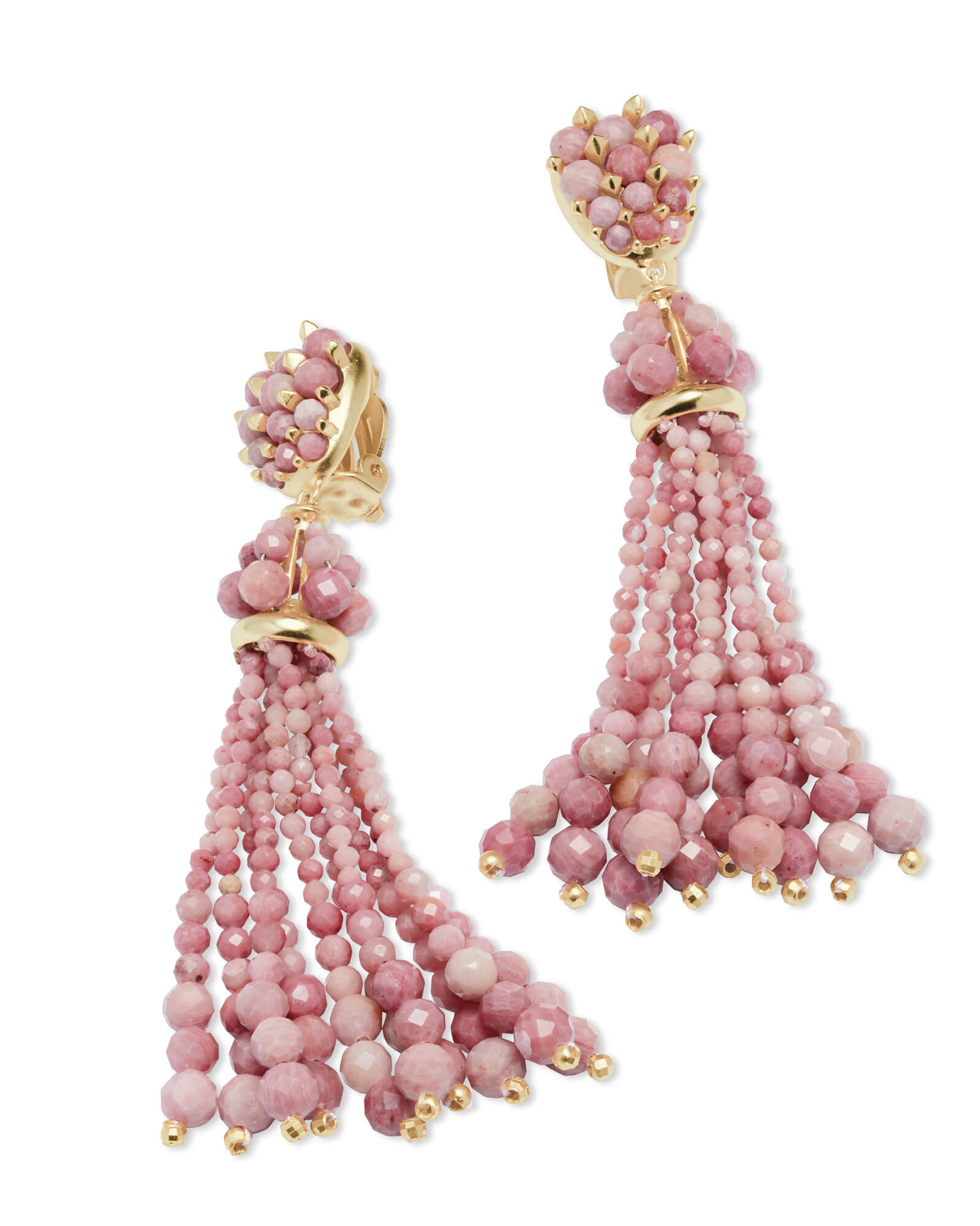 Cecily Gold Clip On Statement Earrings In Pink Rhodonite
