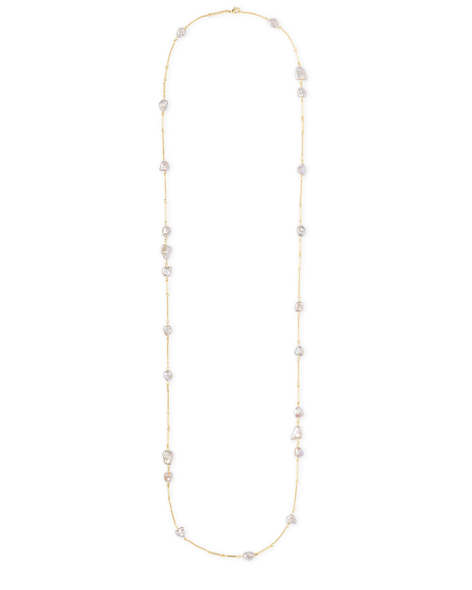 Sabrina Gold Long Necklace in Pearl