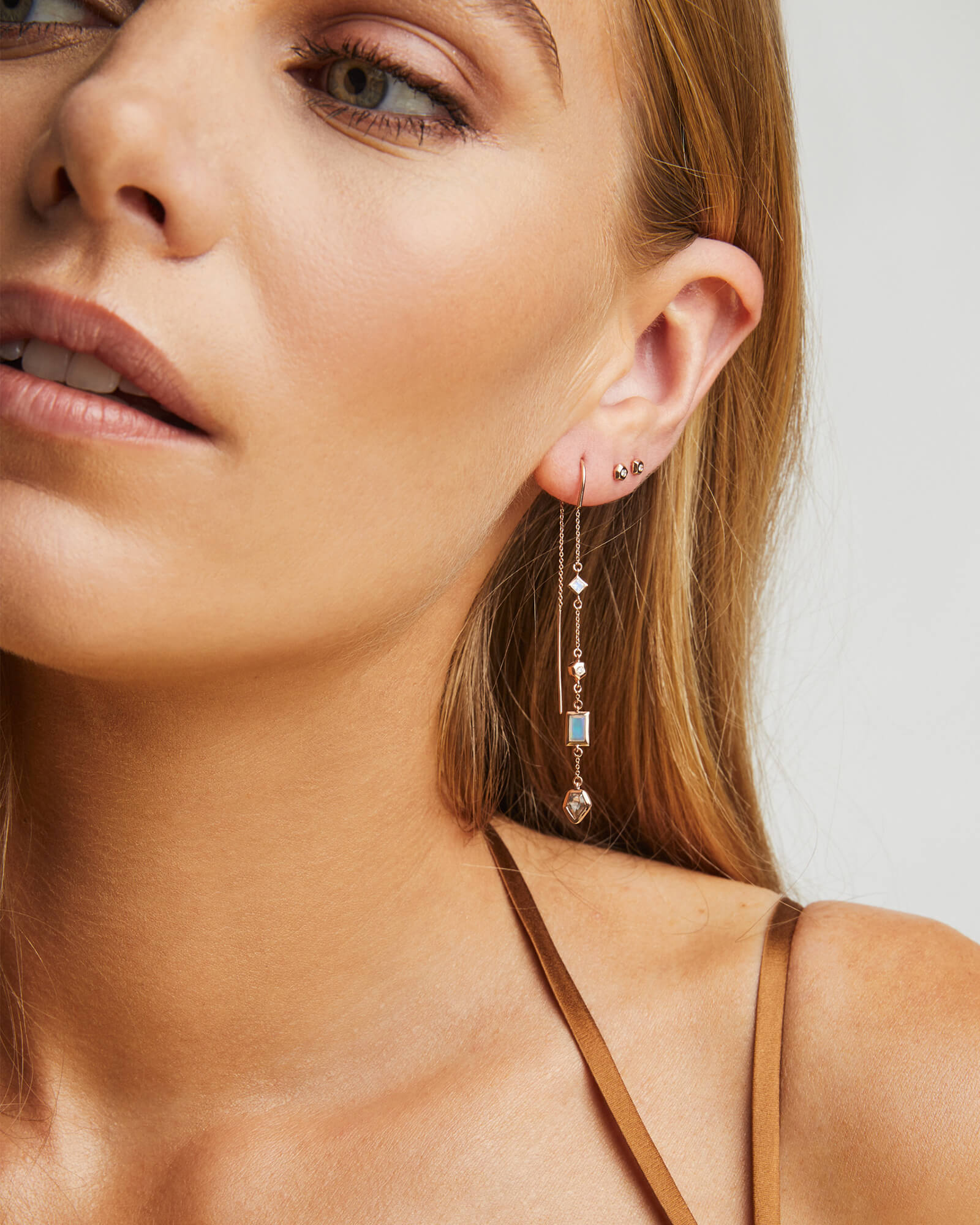 Yves Threader Earrings in Neutral Gemstone Mix and 14k Rose Gold