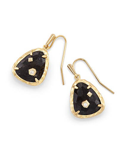 Asher Drop Earrings in Black Granite