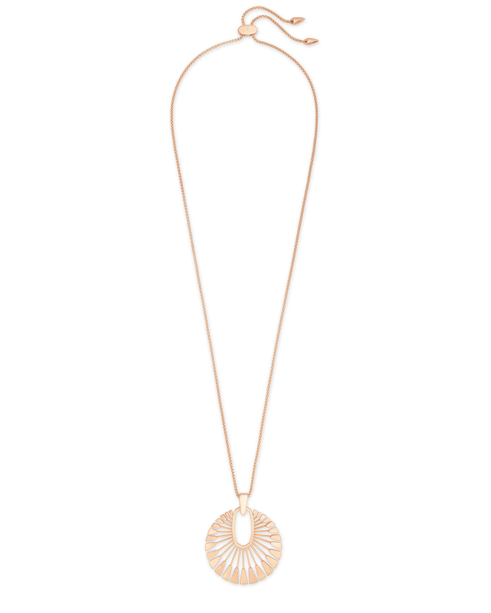 Deanne Long Pendant Necklace in Rose Gold
