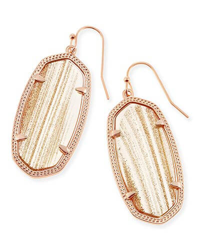 Elle Drop Earrings in Gold Dusted Glass
