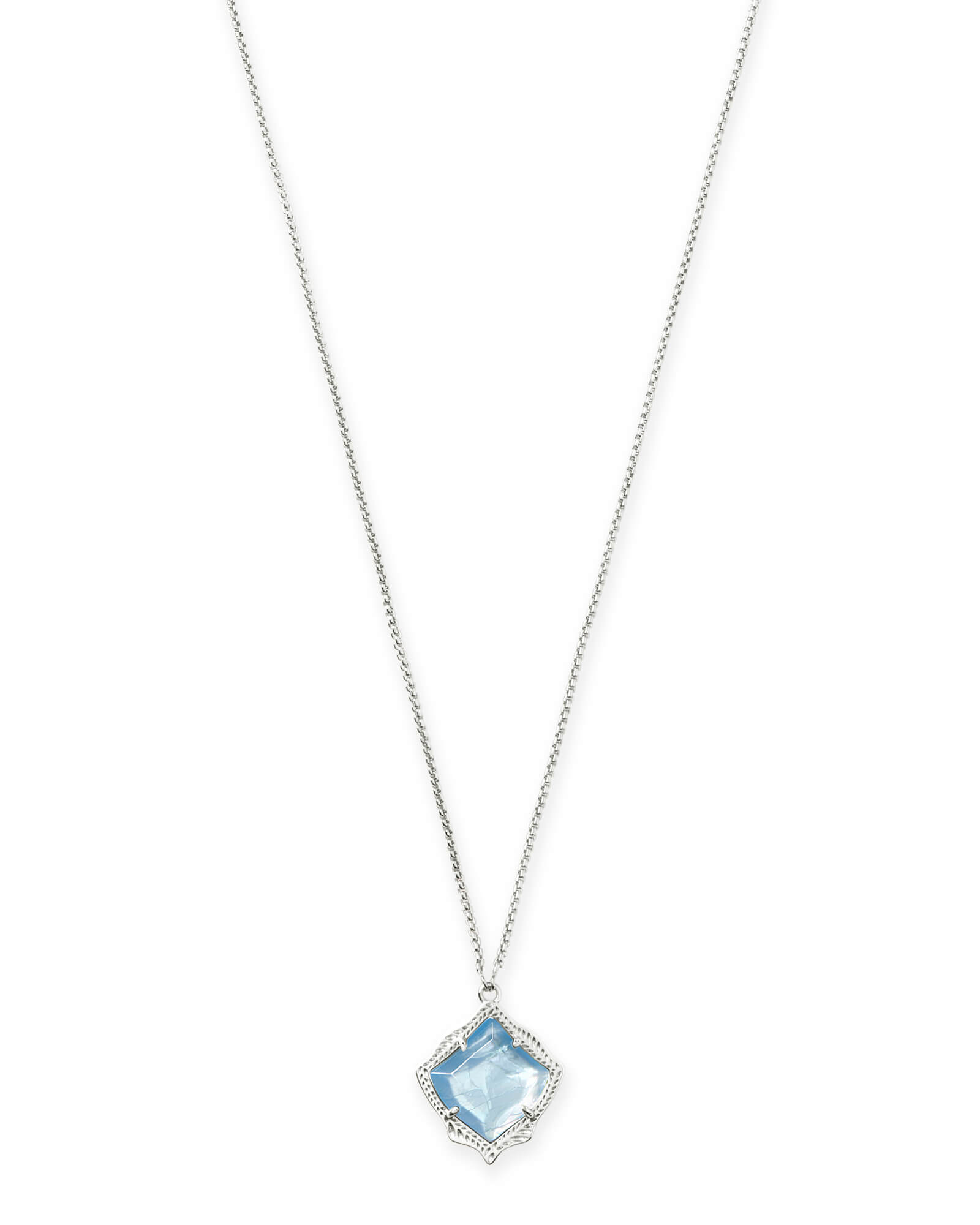 Kacey Bright Silver Long Pendant Necklace in Sky Blue Illusion