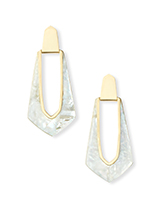 Kiernan Gold Hoop Earrings in Ivory Pearl