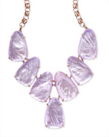 Harlow Rose Gold Statement Necklace in Lilac Mother of Pearl