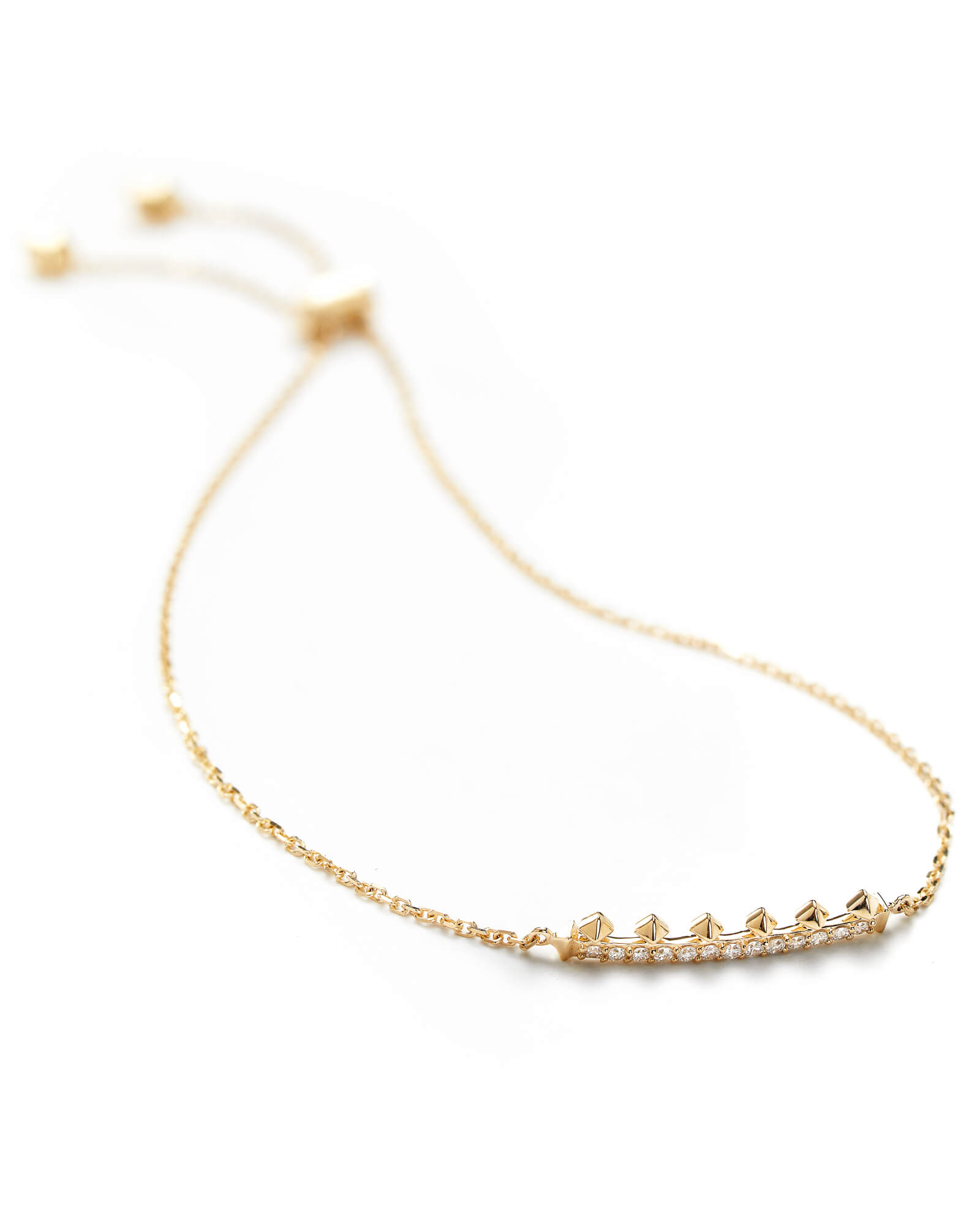 Molly Adjustable Chain Bracelet in White Diamond and 14k Yellow Gold