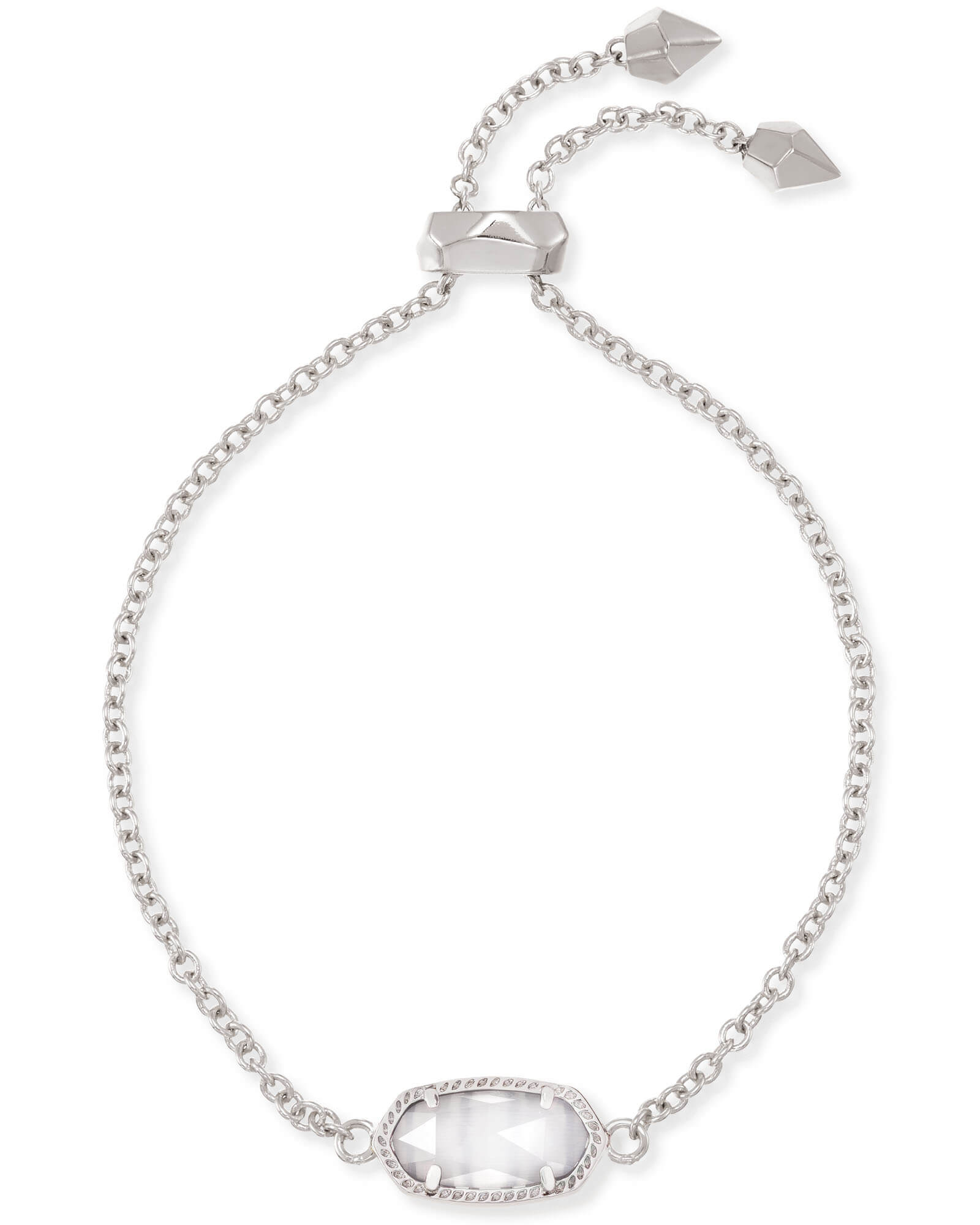 Elaina Silver Adjustable Chain Bracelet in Slate