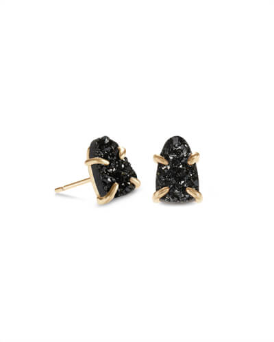 Harriett Gold Stud Earrings in Black Drusy