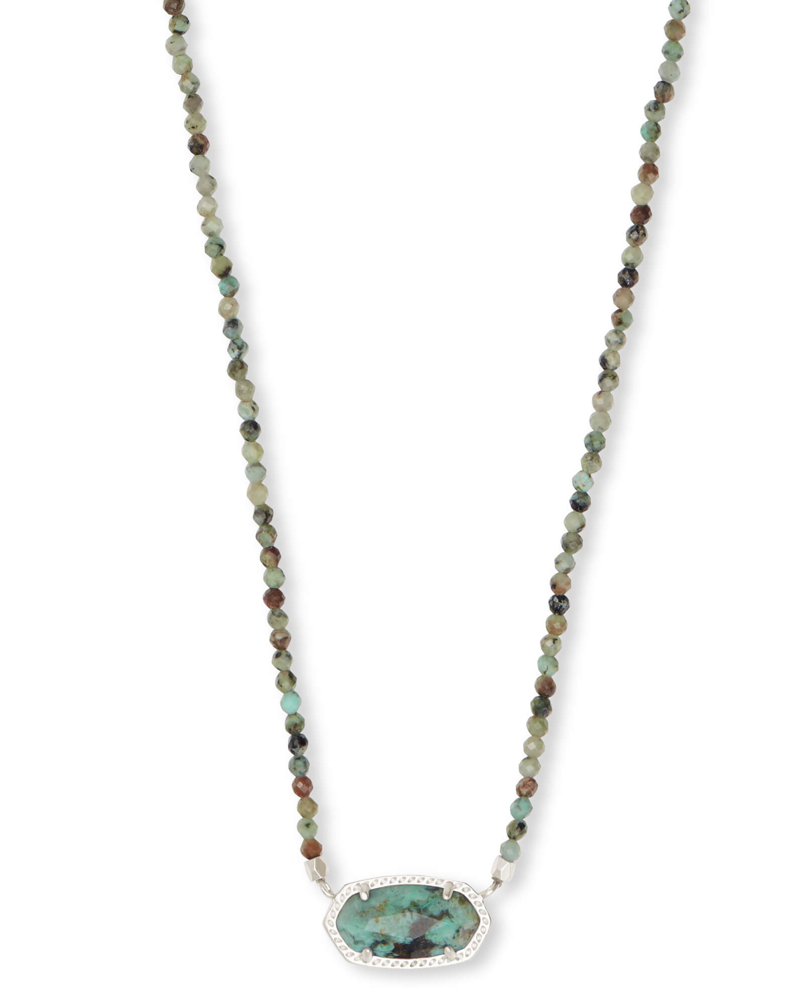b33db9df953db8 Elisa Silver Beaded Pendant Necklace in African Turquoise | Kendra Scott