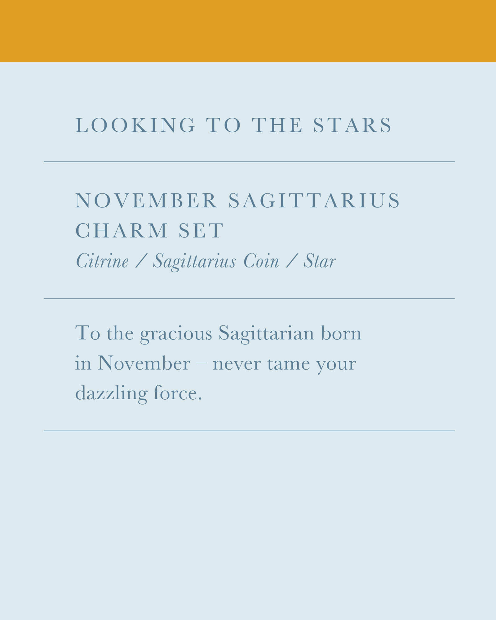 November Sagittarius Charm Necklace Set in Gold