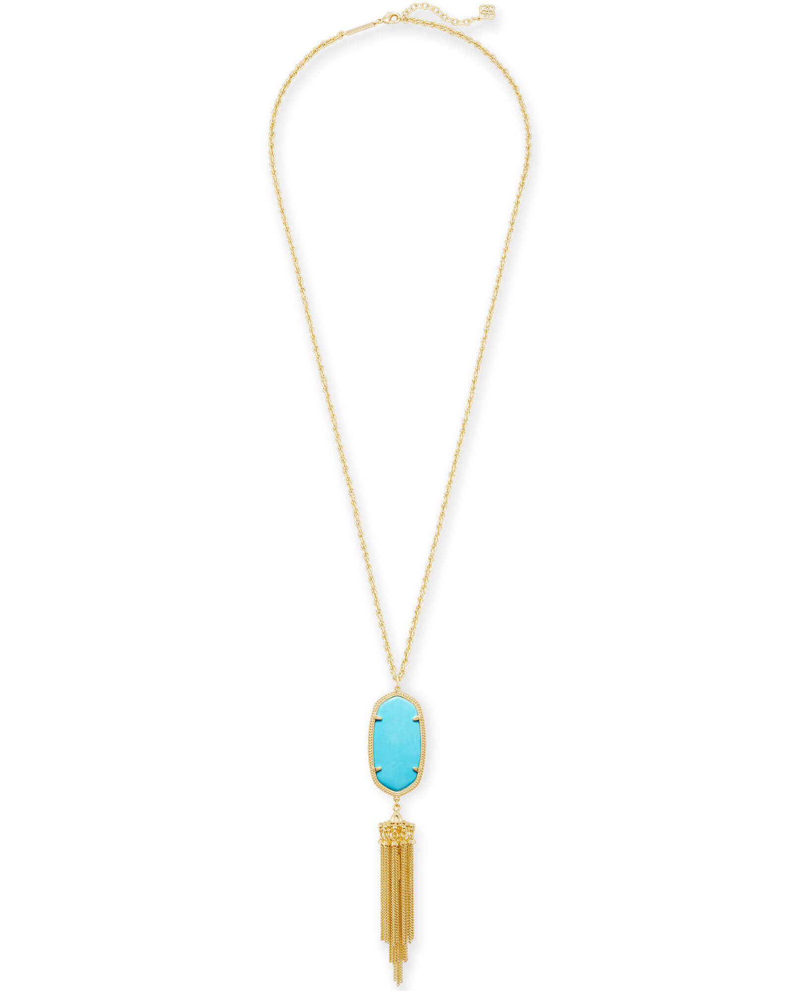 Rayne Gold Long Pendant Necklace in Turquoise