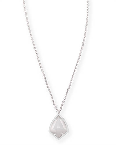 Cory Silver Pendant Necklace in Slate
