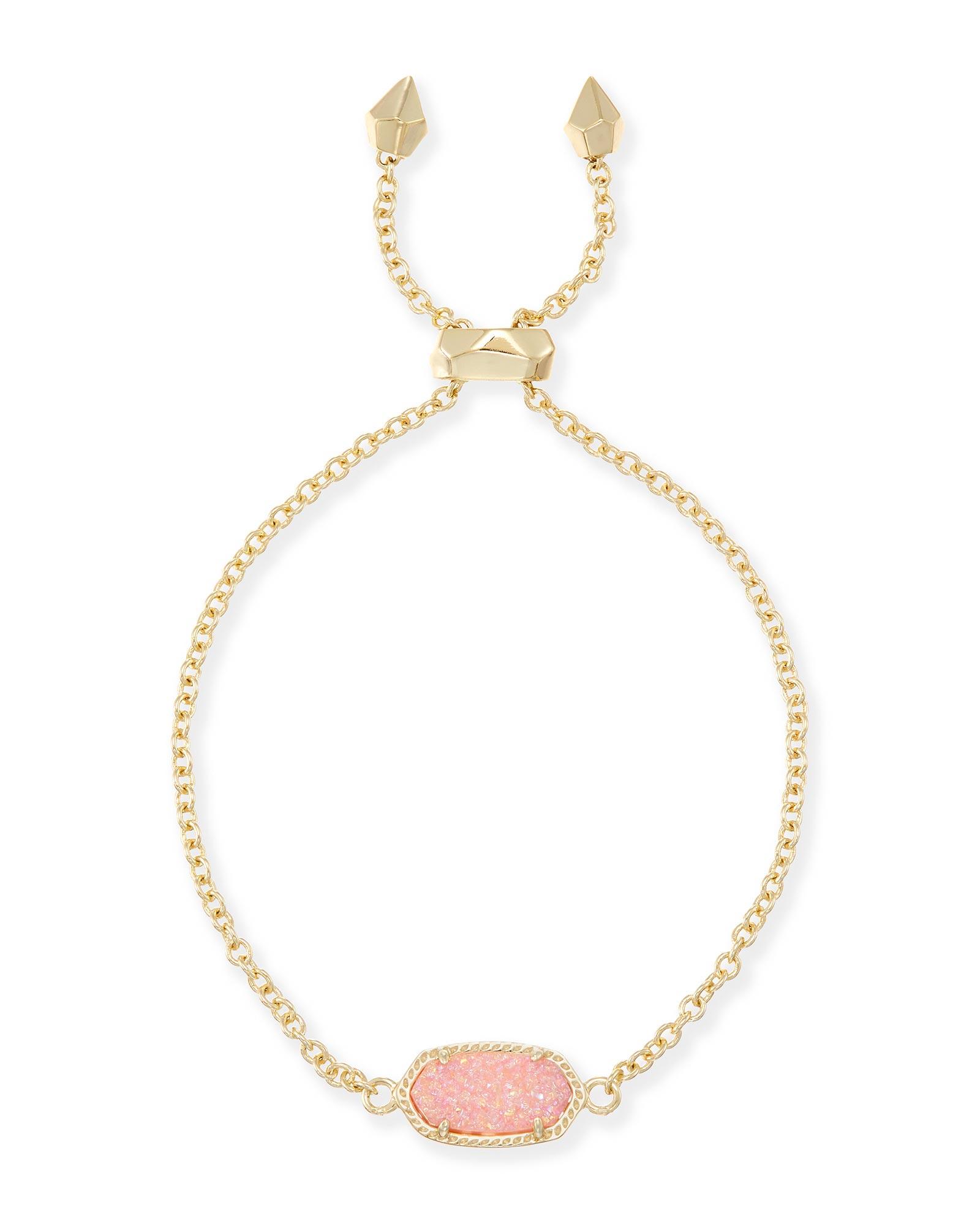 New Kendra Elaina Gold Adjustable Chain Bracelet In Rose Quartz