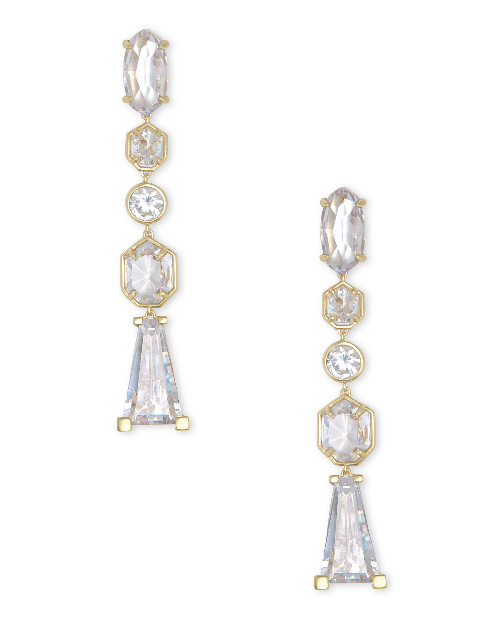 Gracelynn Gold Statement Earrings in Lustre Glass
