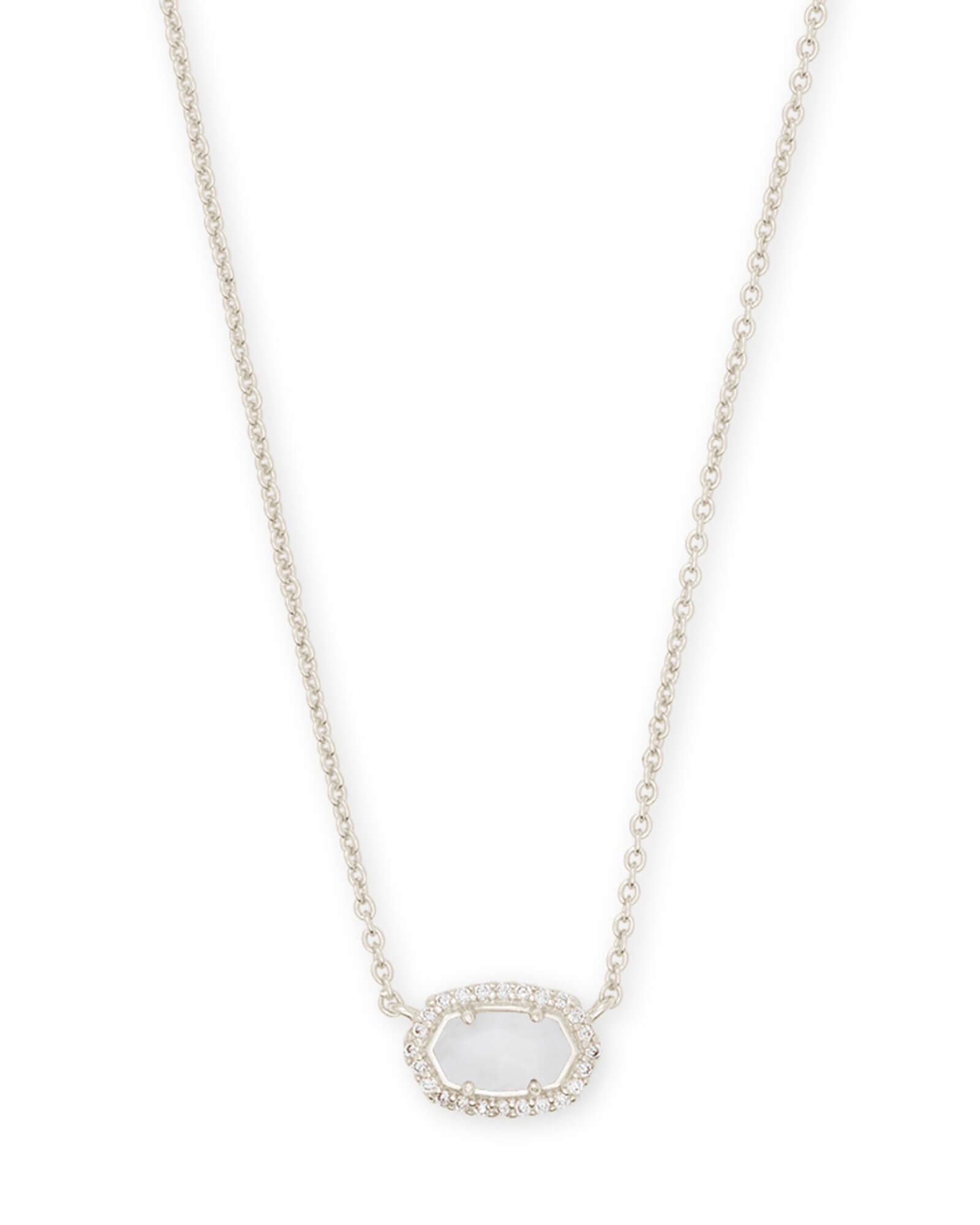 Chelsea Silver Pendant Necklace in White Pearl