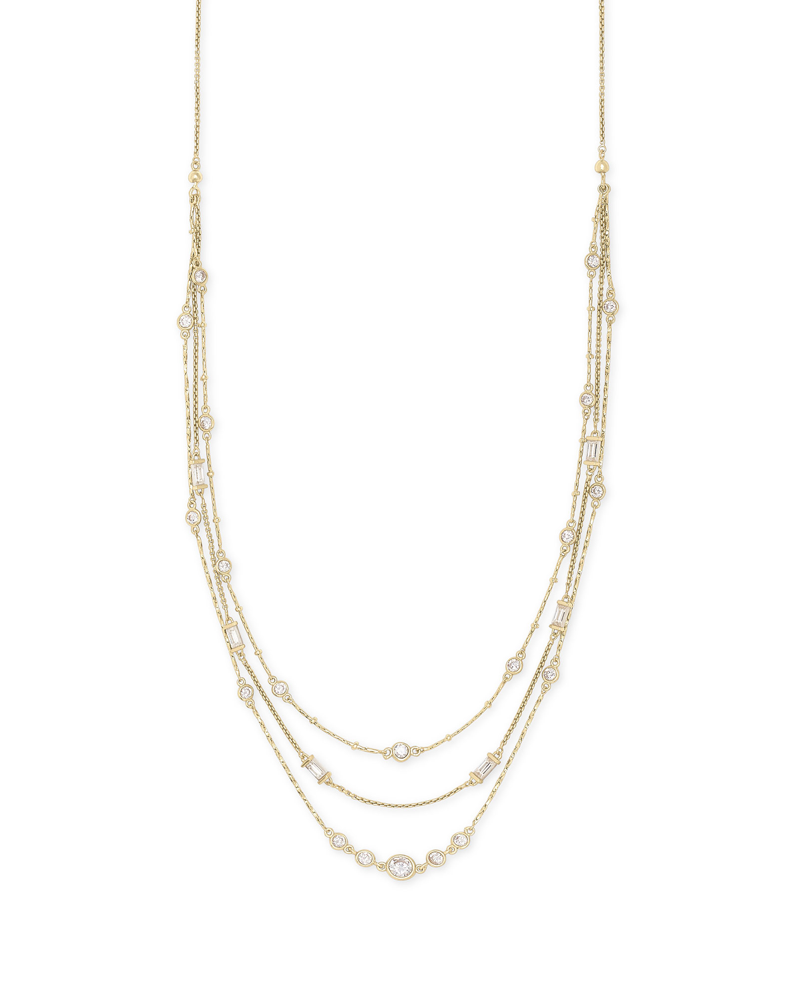 Rina Gold Multi Strand Necklace in Lustre Glass