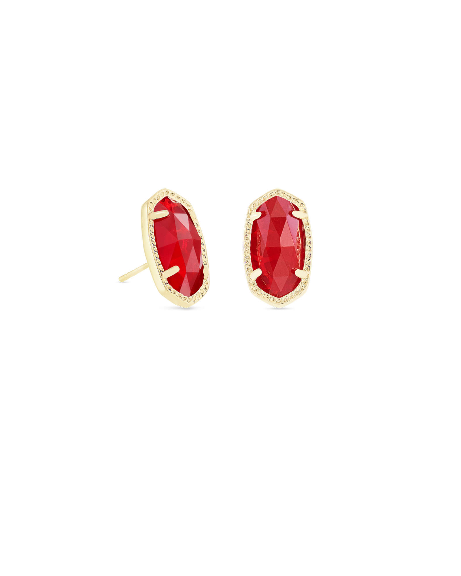 Ellie Gold Stud Earrings in Ruby Red