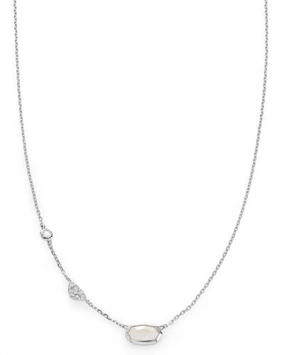 Aryn Pendant Necklace in Rainbow Moonstone and 14k White Gold