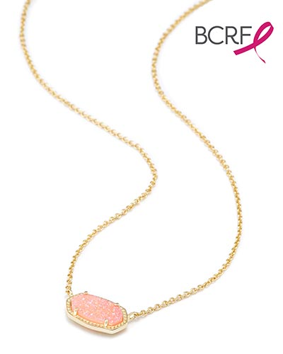 Elisa Pendant Necklace in Light Pink Drusy