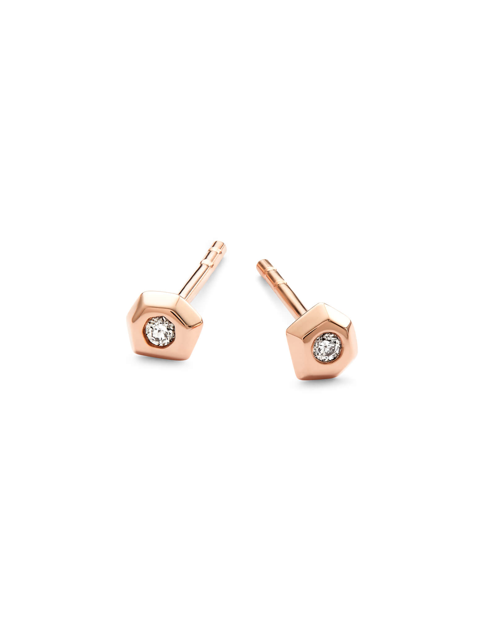 Janiya 14k Rose Gold Stud Earrings in White Diamond