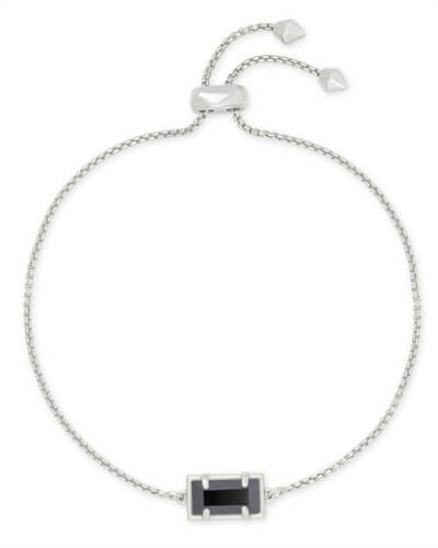 Phillipa Silver Chain Bracelet in Black Opaque Glass