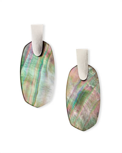 Aragon Silver Drop Earrings in Black Mother-of-Pearl
