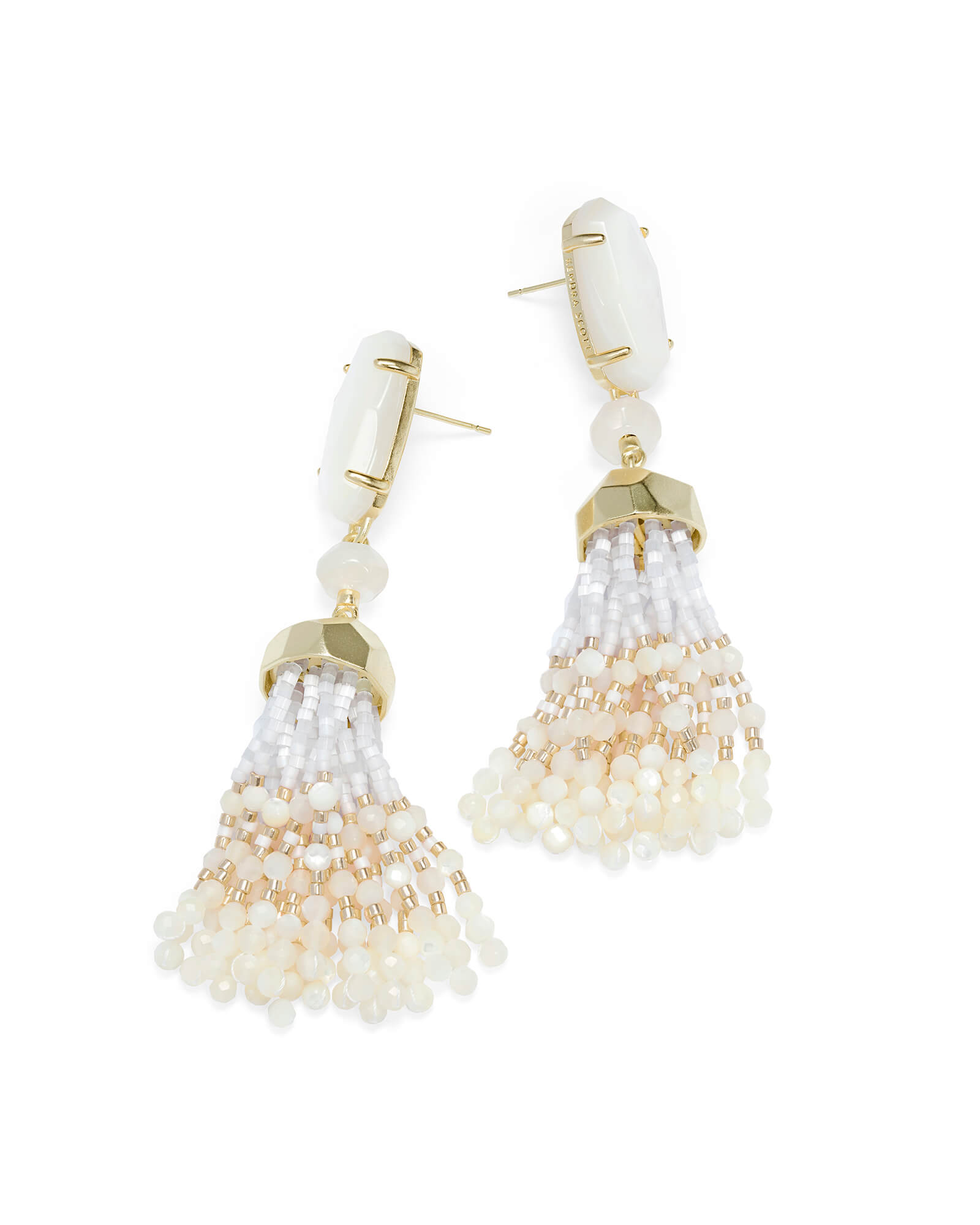 Dove Gold Statement Earrings in Ivory Pearl