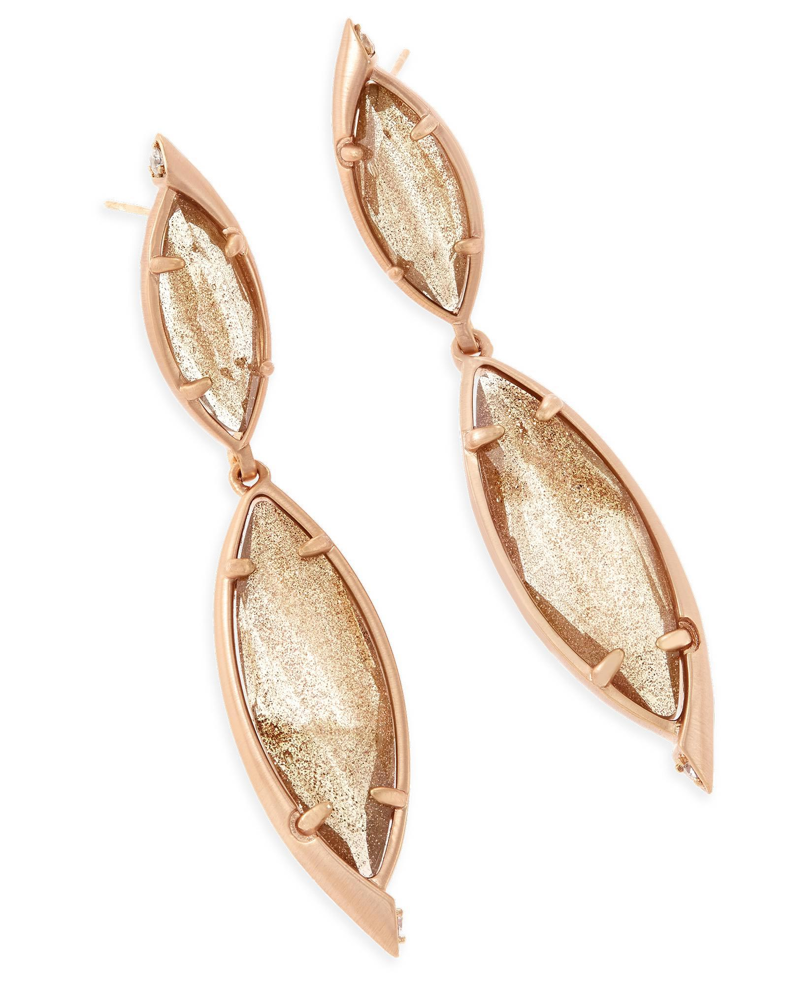 Maisey Statement Earrings in Gold Dusted Glass